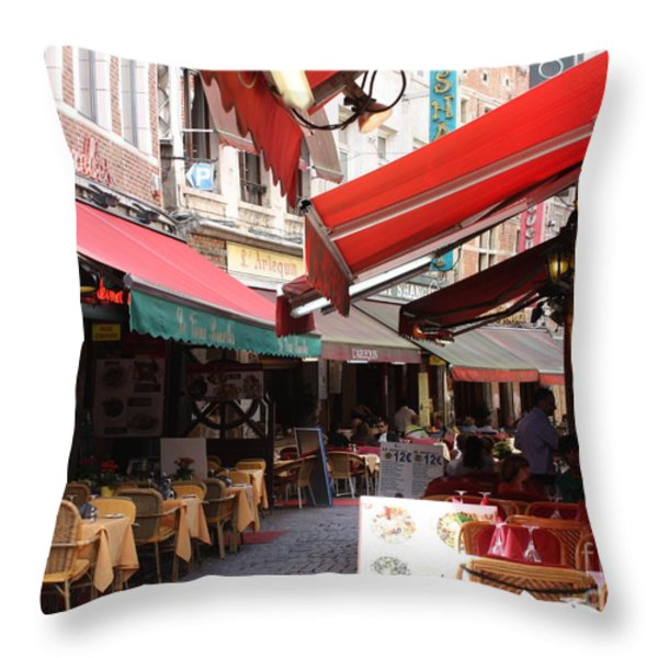 Brussels Restaurant Street - Rue de Bouchers Throw Pillow by Carol Groenen