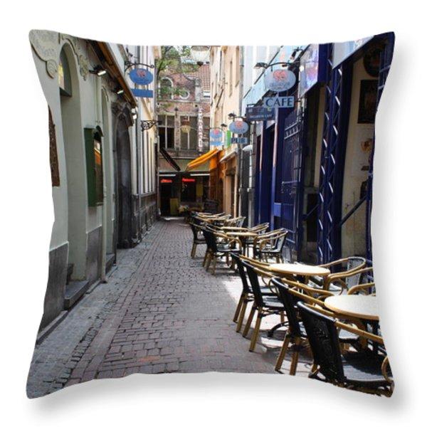 Brussels Side Street Cafe Throw Pillow by Carol Groenen