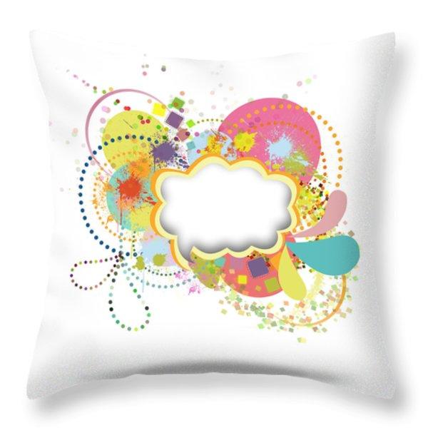 Bubble Speech Throw Pillow by Setsiri Silapasuwanchai