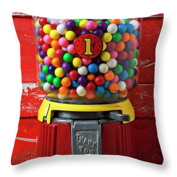 Bubblegum Machine And Gum Throw Pillow by Garry Gay