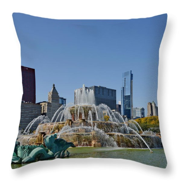 Buckingham Fountain Chicago Throw Pillow by Christine Till