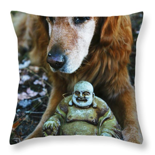 Buddha And The Old Boy Throw Pillow by Lorraine Devon Wilke