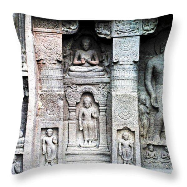 buddha carvings at ajanta caves Throw Pillow by Sumit Mehndiratta