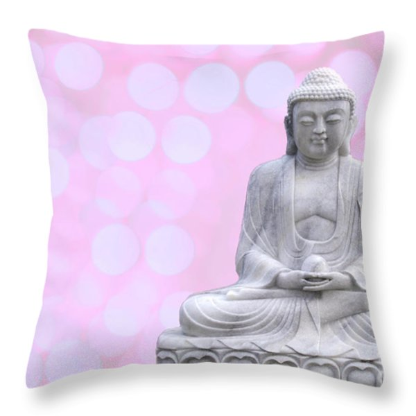 Buddha Enlightment Red-yellow Throw Pillow by Hannes Cmarits