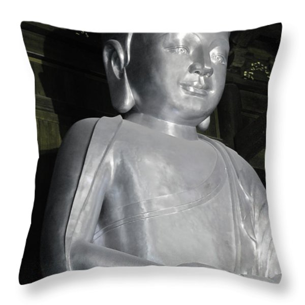 Buddha in solid silver - Jin'an Temple Shanghai Throw Pillow by Christine Till