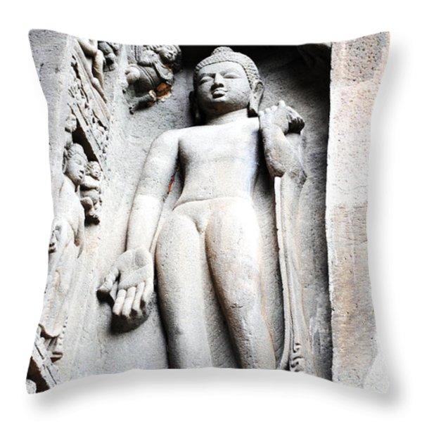 Buddha Statue At Ajanta Caves India Throw Pillow by Sumit Mehndiratta
