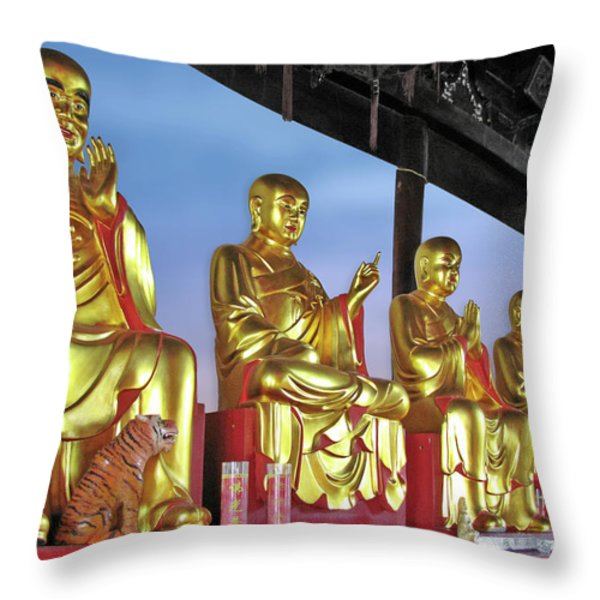 Buddhas Delight - Representations of Buddhism Throw Pillow by Christine Till