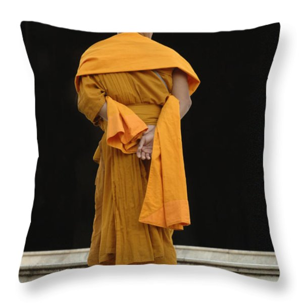 Buddhist Monk 1 Throw Pillow by Bob Christopher