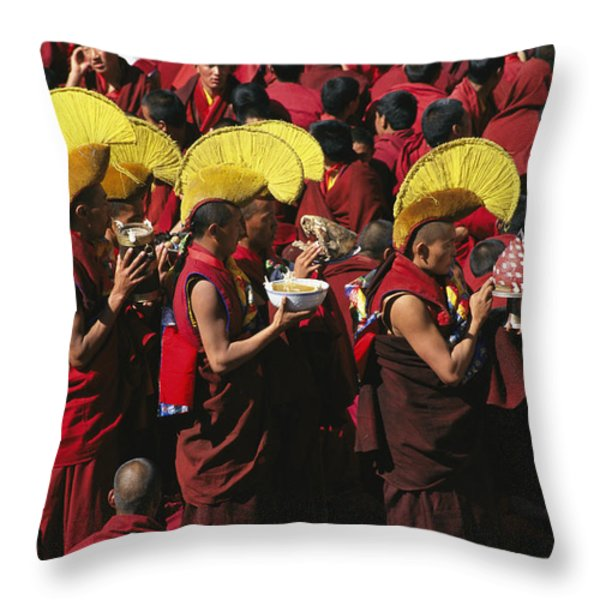 Buddist Monks At Nechung Monastery Throw Pillow by Maria Stenzel