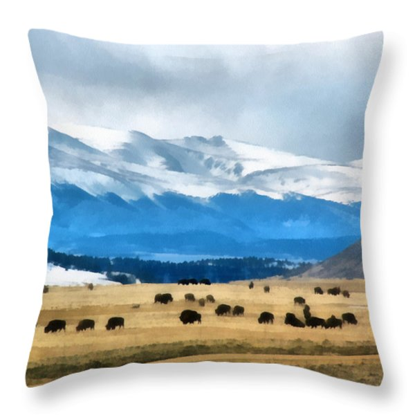 Buffalo Herd Painterly Throw Pillow by Ernie Echols