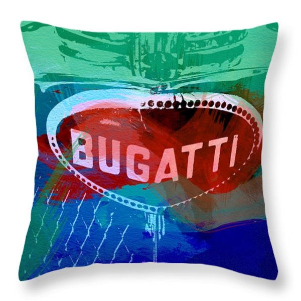Bugatti Badge Throw Pillow by Naxart Studio
