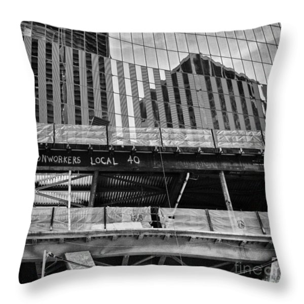 Building The American Dream Throw Pillow by John Farnan