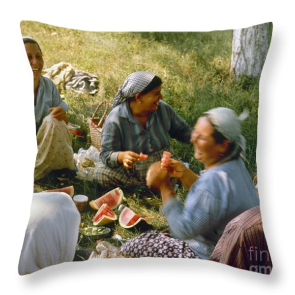Bulgaria: Peasants Throw Pillow by Granger