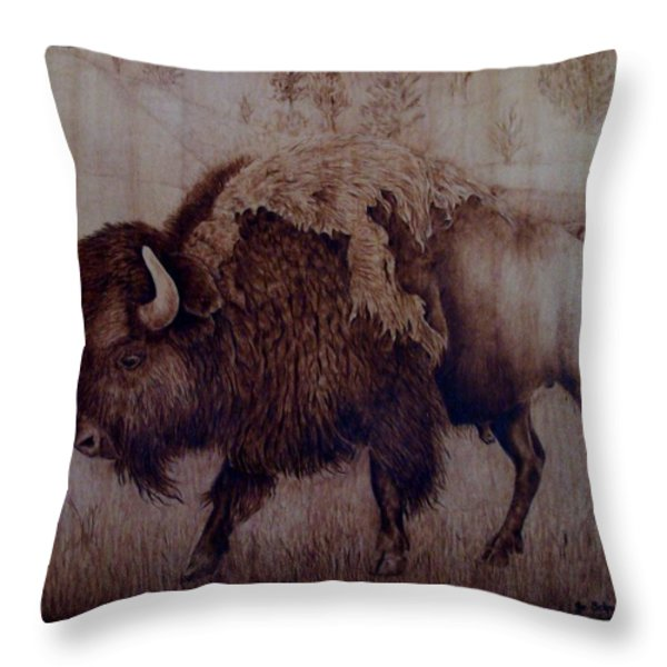 Bull Attitude Throw Pillow by Jo Schwartz