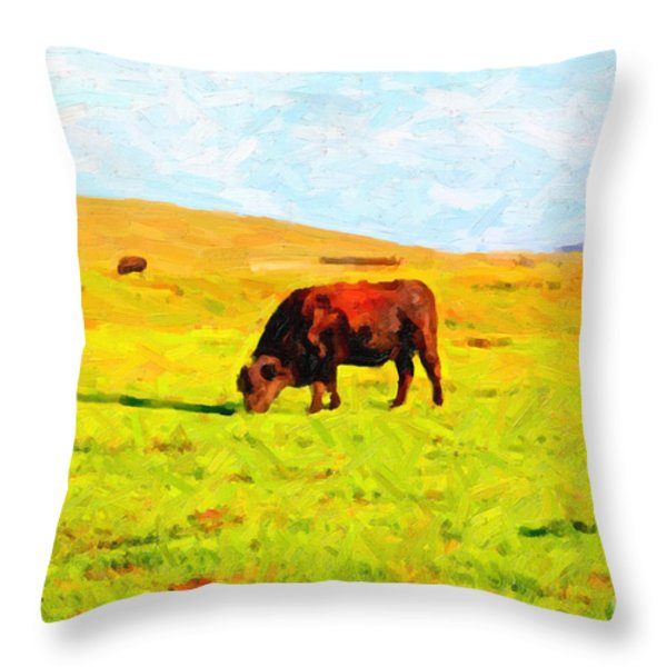 Bull Grazing in the Field Throw Pillow by Wingsdomain Art and Photography