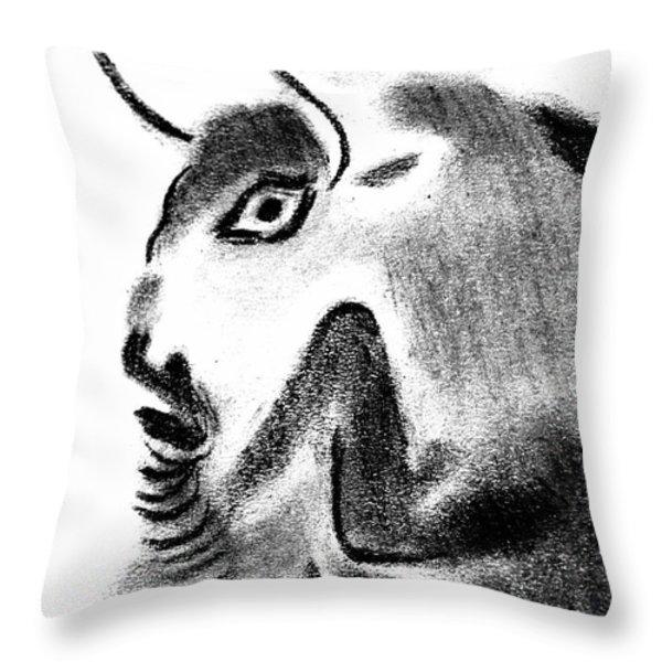 Bull Throw Pillow by Michal Boubin