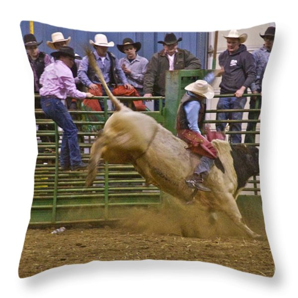Bull Rider 2 Throw Pillow by Sean Griffin