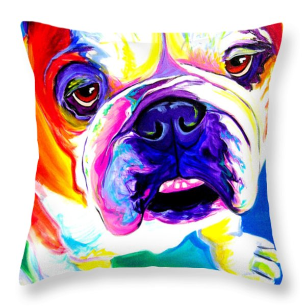 Bulldog - Stanley Throw Pillow by Alicia VanNoy Call