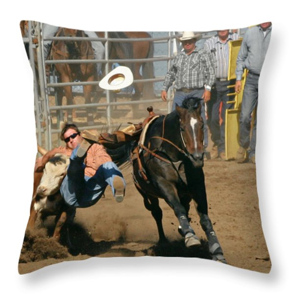 Bulldogging at the Rodeo Throw Pillow by Christine Till