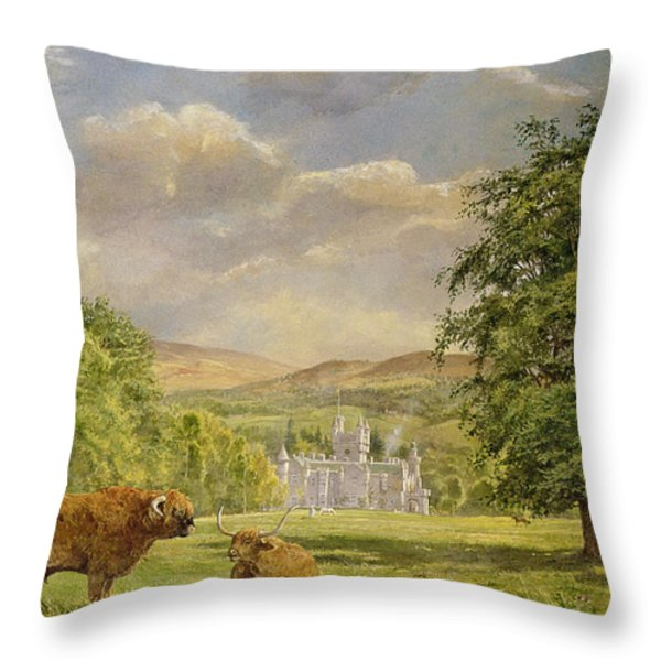 Bulls At Balmoral Throw Pillow by Tim Scott Bolton