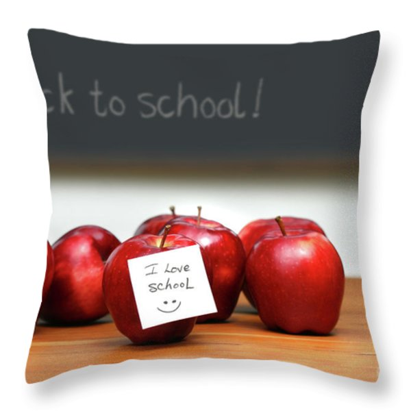 Bunch Of Red Apples Throw Pillow by Sandra Cunningham