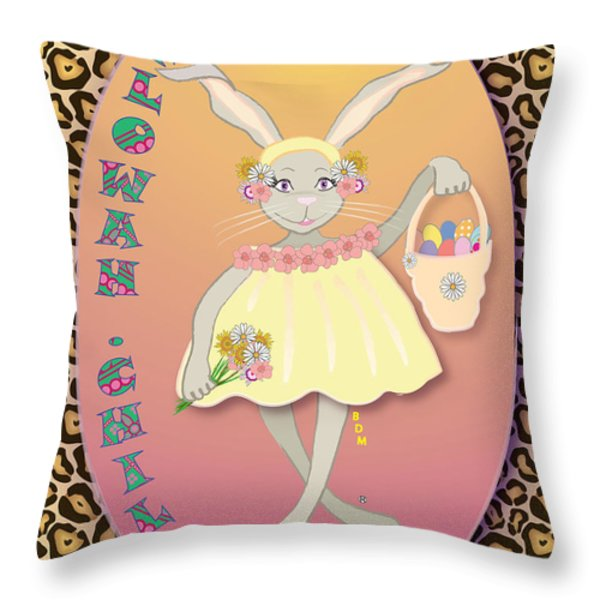 BUNNIE GIRLS- FLOWAH CHILE 1 OF 4  Throw Pillow by BRENDA DULAN MOORE
