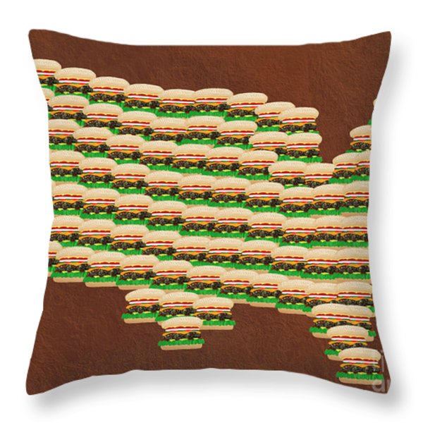 Burger Town Usa Map Brown Throw Pillow by Andee Design