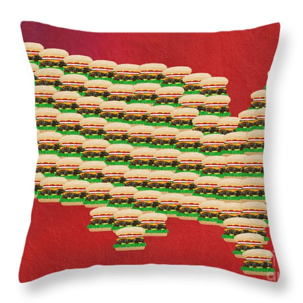 Burger Town Usa Map Red Throw Pillow by Andee Design