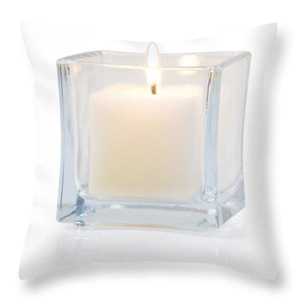 burning candle side view 20 degree Throw Pillow by ATIKETTA SANGASAENG