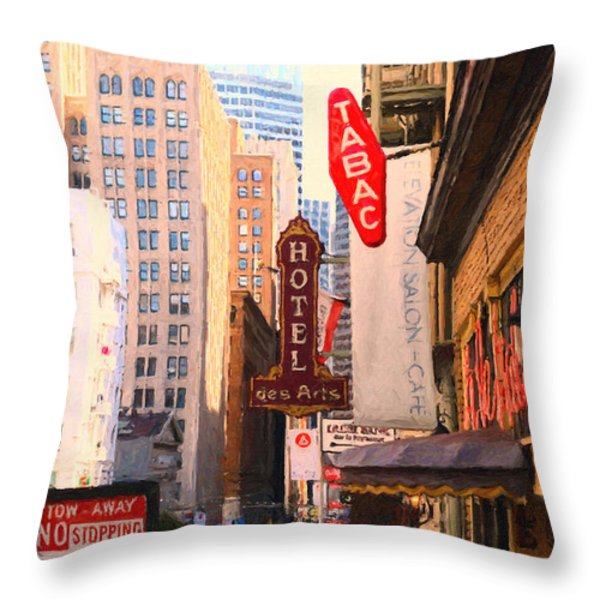 Bush Street In San Francisco Throw Pillow by Wingsdomain Art and Photography