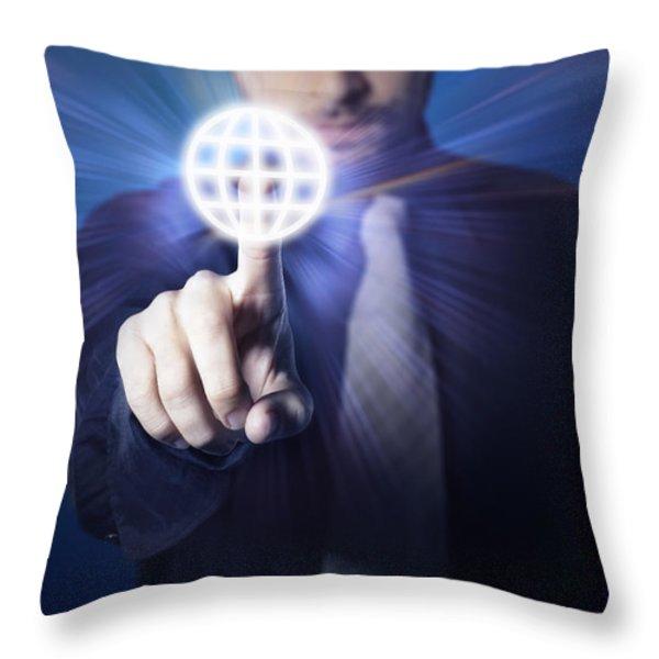 businessman pressing touch screen button Throw Pillow by Setsiri Silapasuwanchai