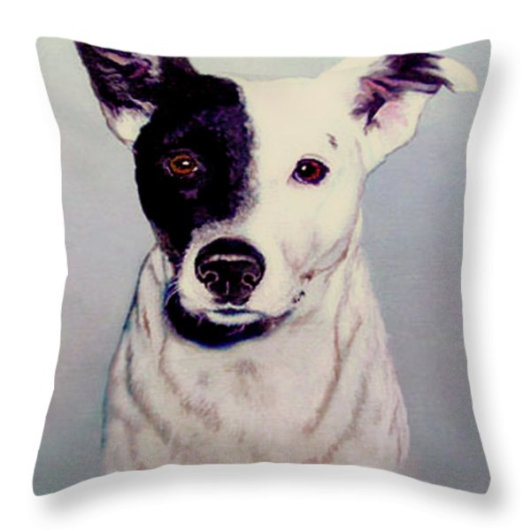 Butch the Smooth Fox Terrier Throw Pillow by  Bob and Nadine Johnston