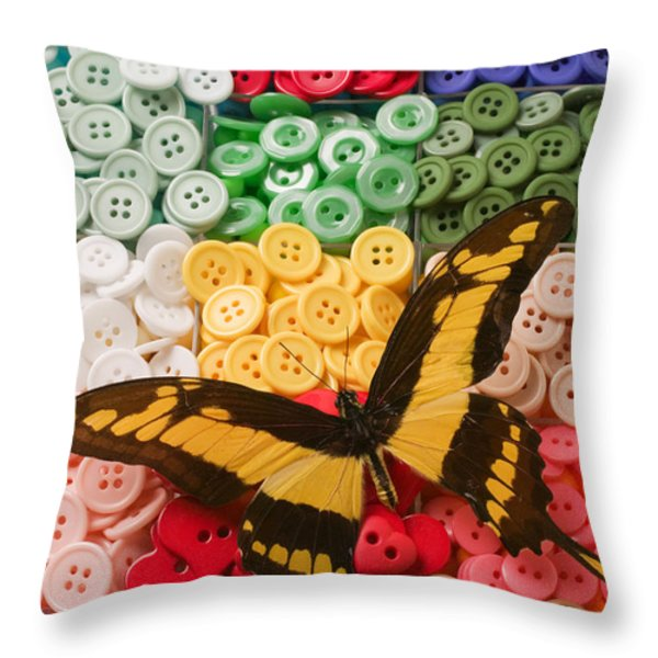 Butterfly and buttons Throw Pillow by Garry Gay