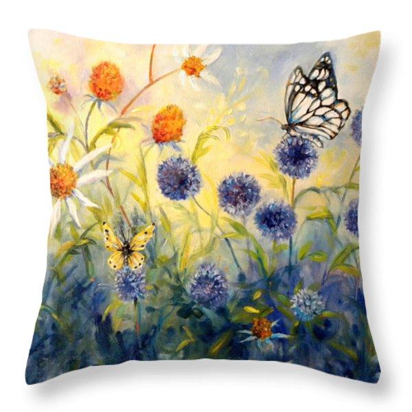 Butterfly Garden Throw Pillow by Peggy Wilson