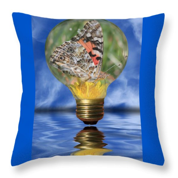 Butterfly In Lightbulb Throw Pillow by Shane Bechler
