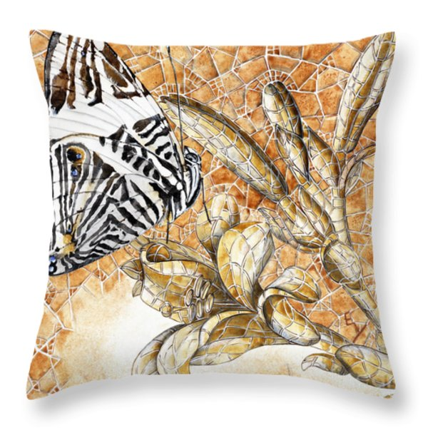 Butterfly Mosaic 02 Elena Yakubovich Throw Pillow by Elena Yakubovich
