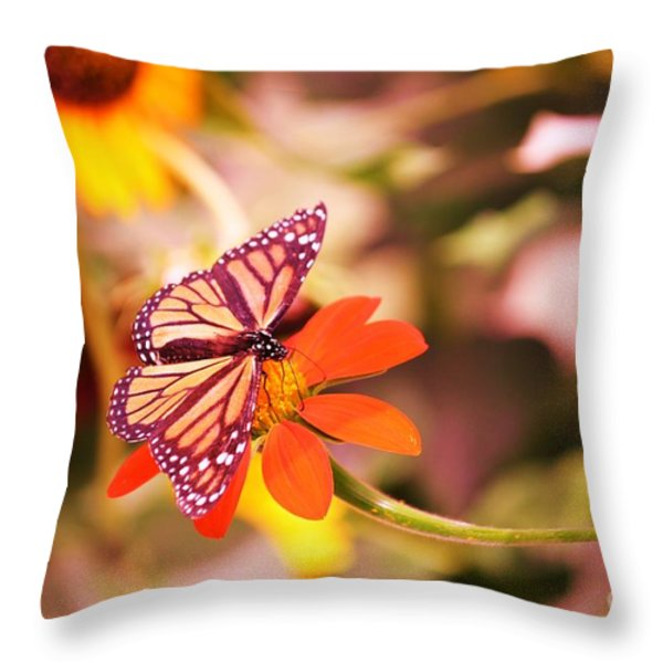 Butterfly On Flower 2 Throw Pillow by Artie Wallace