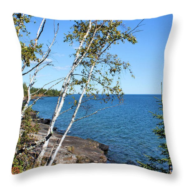 By The Shores Of Gitche Gumee Throw Pillow by Kristin Elmquist