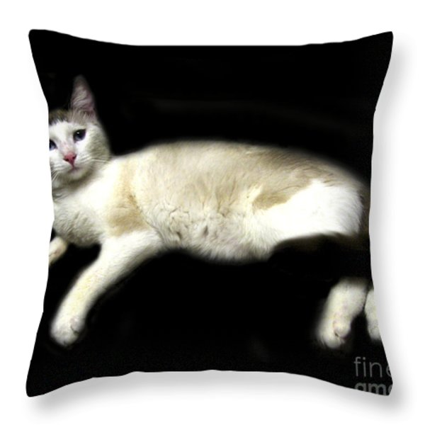 C-A-T in Repose  Throw Pillow by Peter Piatt