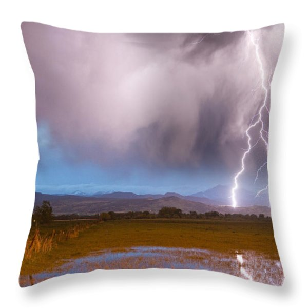 C2G Lightning Bolts Striking Longs Peak Foothills 6 Throw Pillow by James BO  Insogna