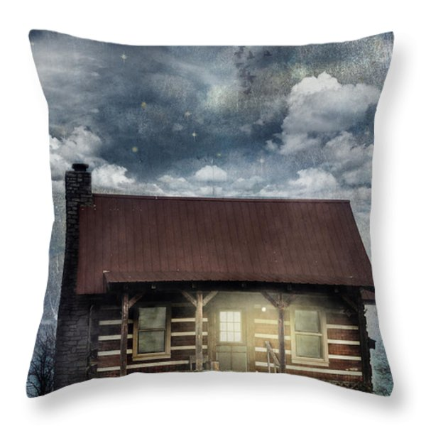 Cabin At Night Throw Pillow by Stephanie Frey