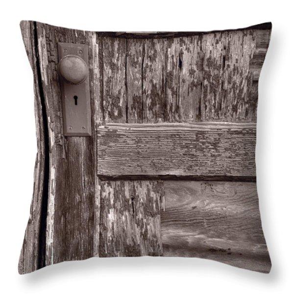 Cabin Door BW Throw Pillow by Steve Gadomski