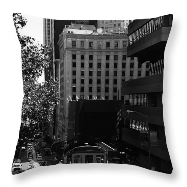 Cablecar On San Francisco California Street . Bw . 7d7176 Throw Pillow by Wingsdomain Art and Photography