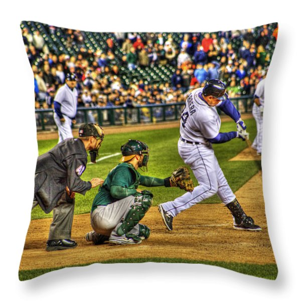Cabrera Grand Slam Throw Pillow by Nicholas  Grunas