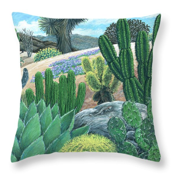 Cactus Garden Throw Pillow by Snake Jagger