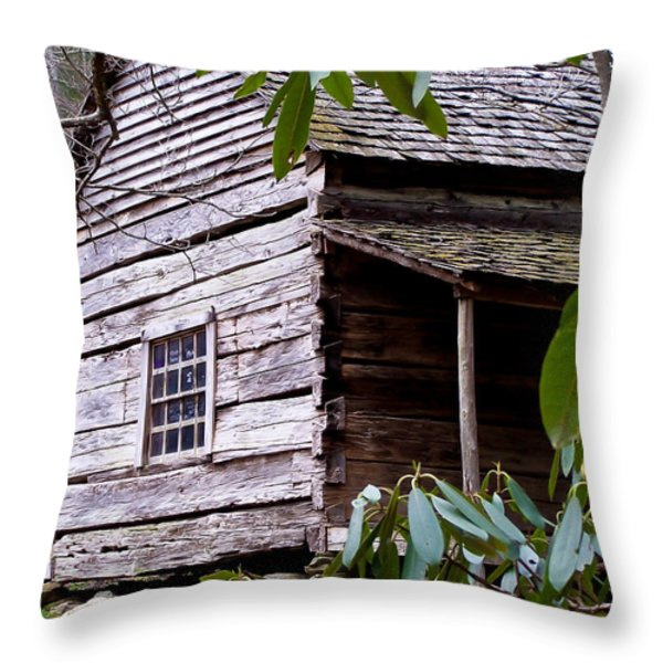 Cades Cove Cabin Throw Pillow by Jim Finch