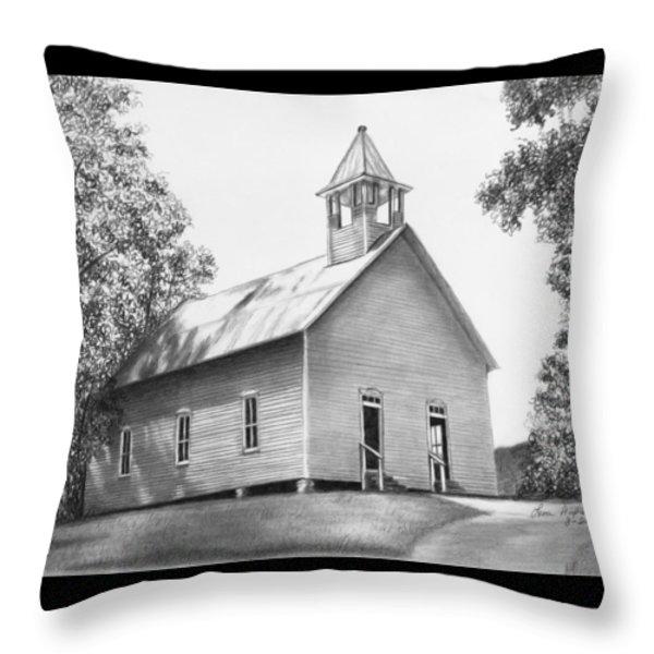 Cades Cove Methodist Church Throw Pillow by Lena Auxier