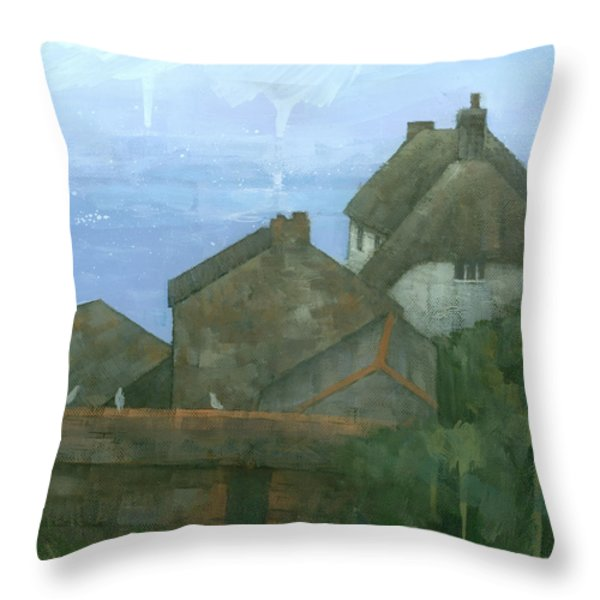 Cadgwith Rooftops Throw Pillow by Steve Mitchell