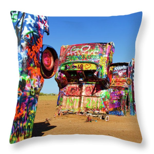 Cadillac Ranch 2 Throw Pillow by Lana Trussell