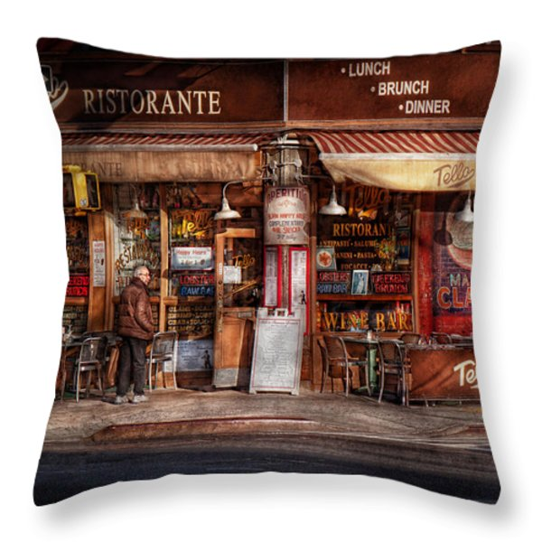 Cafe - Ny - Chelsea - Tello Ristorante Throw Pillow by Mike Savad